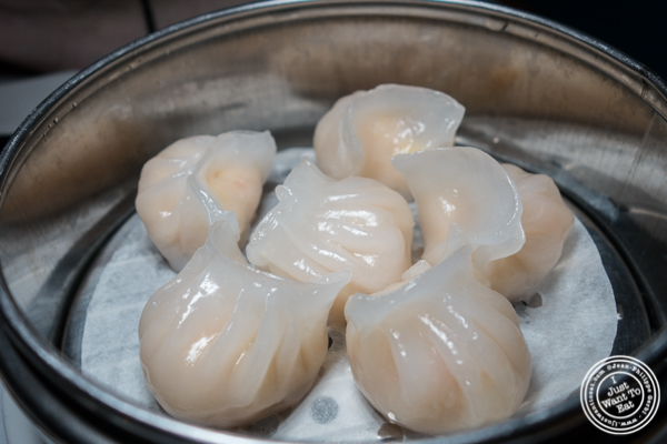 Shrimp dumpling at Lotus Blue Dongtian Kitchen and Bar in NYC, NY