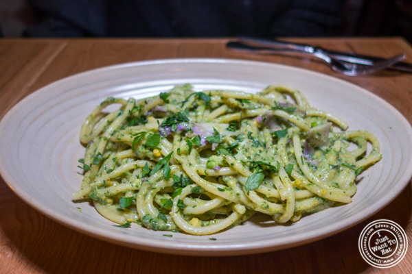 Bucatini with pesto at Jams, Midtown West, NYC, NY