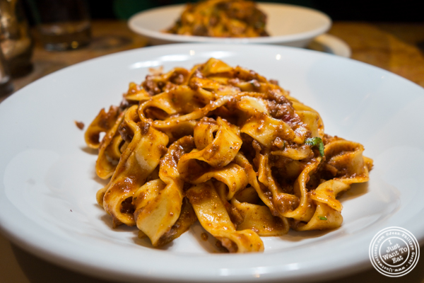 Fettuccine bolognese at Bond 45 in Times Square, NYC, NY