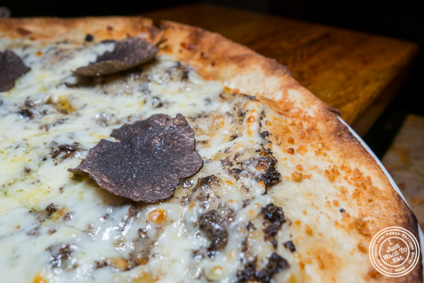 Black truffle pizza at Bond 45 in Times Square, NYC, NY