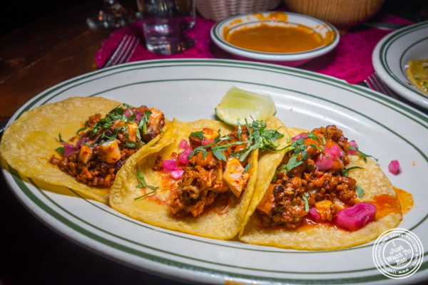 Pulpo y chorizo tacos at Tacuba in Hell's Kitchen, NYC, NY