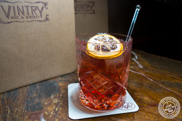 Mo'Fashioned cocktail at Vintry, Wine and Whisky Bar in the Financial District