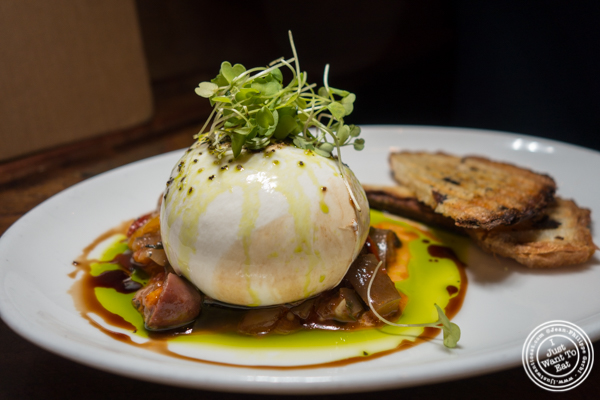Burrata at Vintry, Wine and Whisky Bar in the Financial District