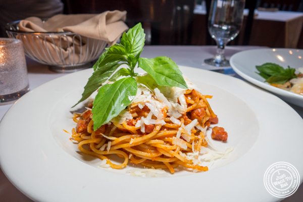 Spaghetti all amatriciana at Azalea in the Theater District, NYC, NY
