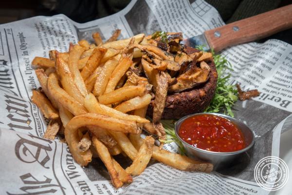 Vegan burger at Blue dog cafe in NYC, NY