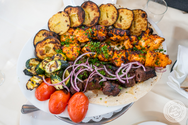 Grilled steak and chicken kebab at Sevan in Bayside, Queens, NY
