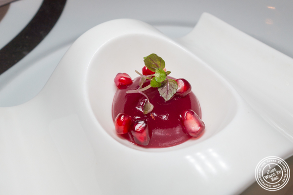 Pomegranate gelee at Aureole in NYC, NY
