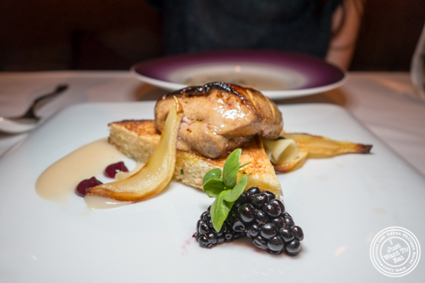 Seared foie gras at Aureole in NYC, NY