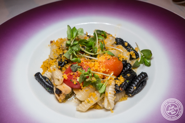 Cavatelli pasta with mussels at Aureole in NYC, NY