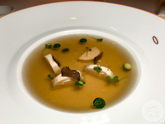 Consommé of free range chicken at Le Cirque in Delhi, India