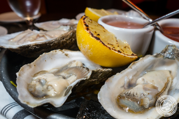 West coast oysters at Butcher and Banker steakhouse in NYC, NY