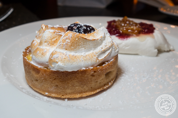 Lemon meringue curd tartlet at Butcher and Banker steakhouse in NYC, NY