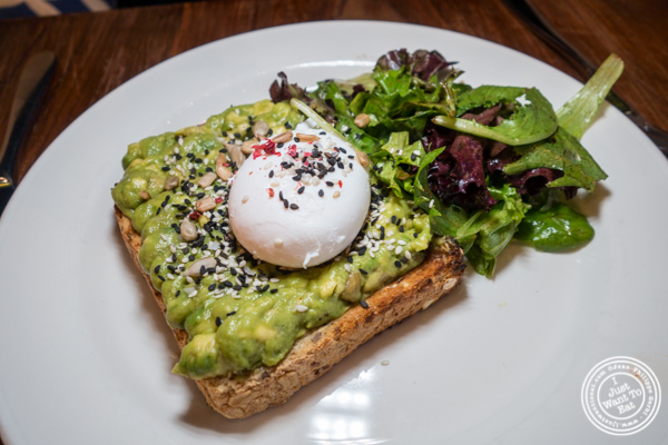 Avocado toast at Atrium Dumbo in Brooklyn