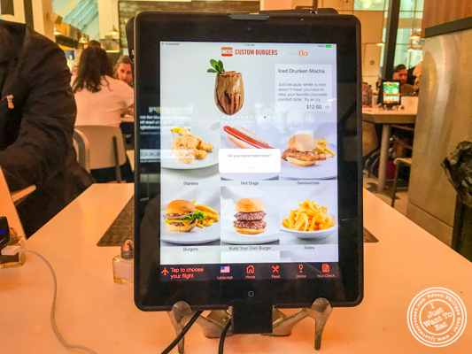 Menu on iPad at Custom Burgers by Pat LaFrieda in LaGuardia Airport
