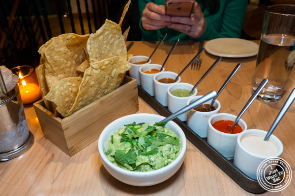 Guacamole with 7 salsas at Empellon Midtown in NYC, NY