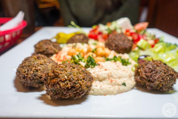 Falafel platter at Ali Baba Middle Eastern Restaurant in Hoboken, NJ