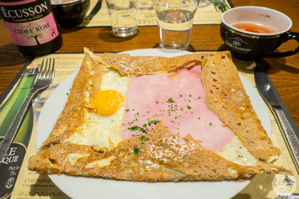 egg, ham and cheese crepe at Creperie Cadet Rousselle in Grenoble, France