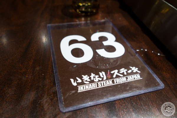 Table number at Ikinari Steak in NYC, NY