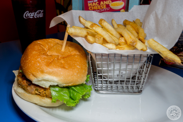 Veggie burger at Big Daddy's Diner in NYC, NY