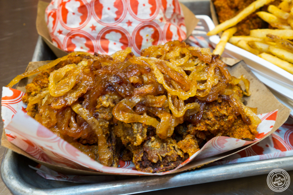 Chicken livers and caramelized onions at Blue Ribbon Fried Chicken in Hell's Kitchen