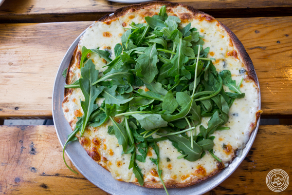 Formaggio bianco pizza at Tappo Thin Crust Pizza in NYC, NY