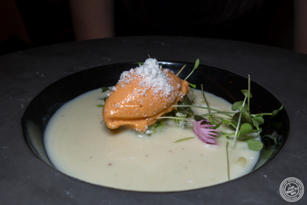 Silver white corn soup at Elizabeth's Gone Raw in Washington DC