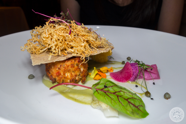 Royal trumpet mushroom and heart of palm crab cake at Elizabeth's Gone Raw in Washington DC