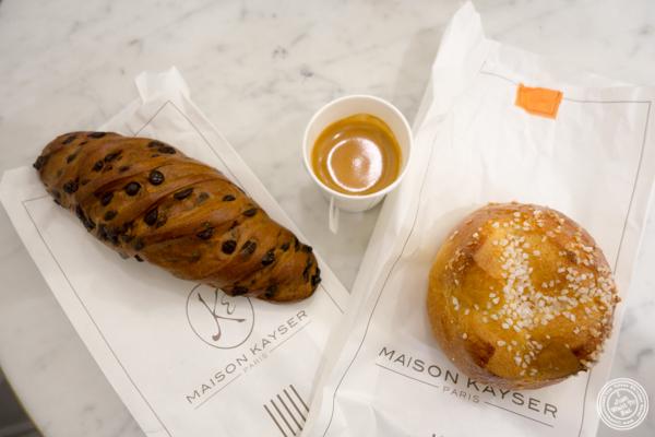 Chocolate viennoiserie (left) and brioche au sucre at Maison Kayser in Washington DC