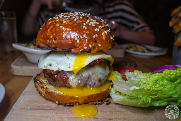 Signature burger at Saxon+Parole in NYC, NY