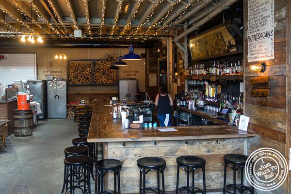 Bar area at Hometown Bar-B-Que in Brooklyn