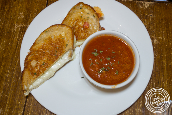 Grilled cheese and tomato soup at The Freckled Moose in Astoria, Queens