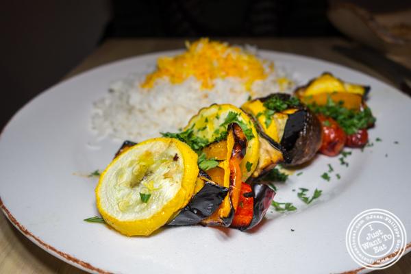 Vegetable kebob at Seven Valleys in Hoboken, NJ