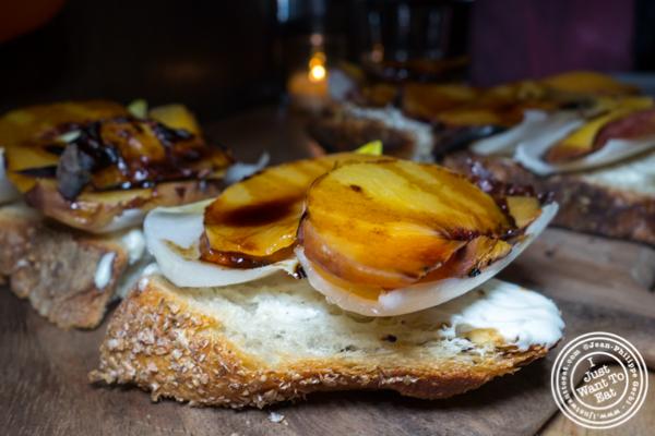 Roasted peach crostini at Irvington in NYC, NY