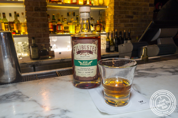 Filibuster dual cask rye at Root Cellar Whiskey Bar in the W Hotel in Washington DC