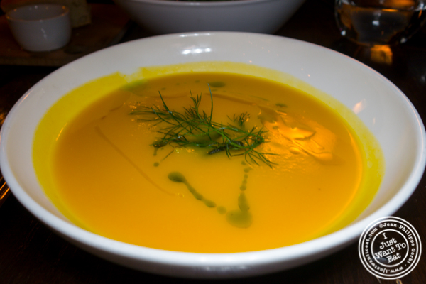 Butternut squash soup at Foragers Table in Chelsea