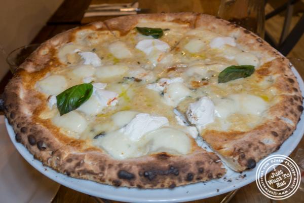 Quattro formaggi pizza at Luzzo's in Long Island City