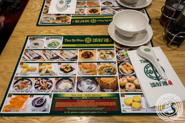 Menu at Tim Ho Wan in Hell's Kitchen