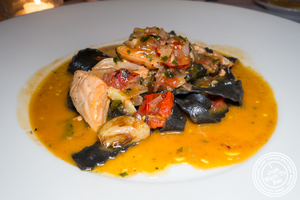 Squid ink tagliatelle at Scalini Fedeli in TriBeCa