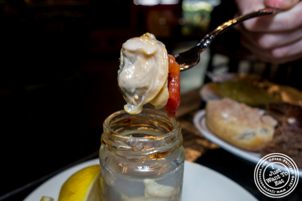 Jar of clams at M Wells Steakhouse in Long Island City