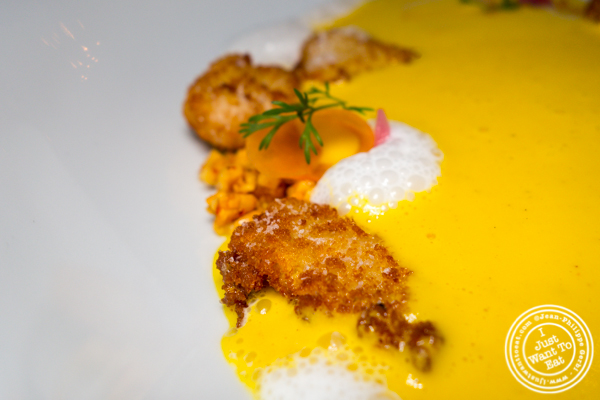 Carrot soup with crispy sweetbreads at Batard in TriBeCa