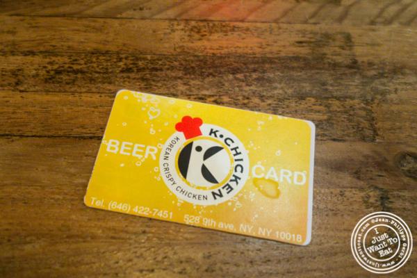 Beer card at Korean Crispy Chicken in Hell's Kitchen