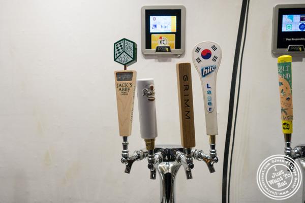 Beer on tap at Korean Crispy Chicken in Hell's Kitchen