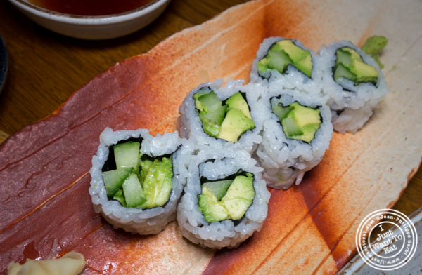 Avocado and cucumber roll at Mifune in NYC, NY