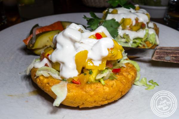 Sopes con mango at Gracias Madre in Los Angeles
