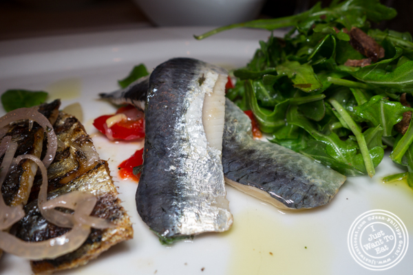 House marinated sardines with pepperonata at Esca in Hell's Kitchen