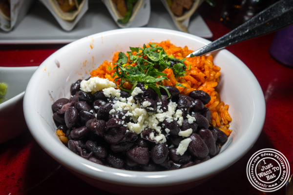 Rice and beans at Orale in Hoboken, NJ