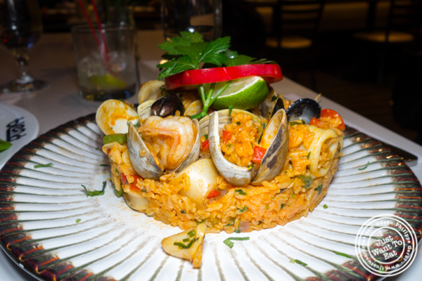 Seafood paella at Blend in Long Island City