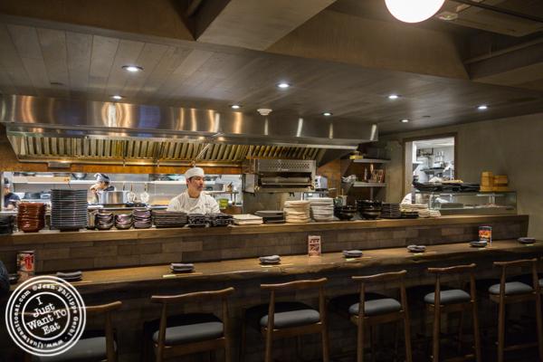 Open kitchen at TsuruTonTan in NYC, NY