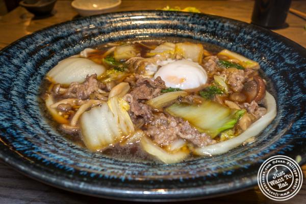 Wagyu and mushroom sukiyaki at TsuruTonTan in NYC, NY