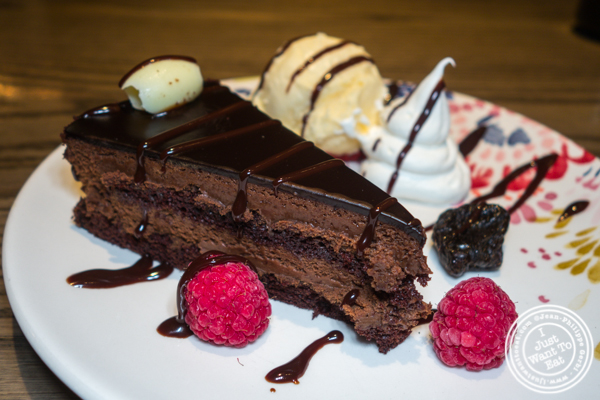 Lady M chocolate cake at TsuruTonTan in NYC, NY